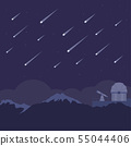 Meteor shower with astronomical observatory 55044406