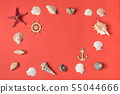 Frame from variety of seashells on the background 55044666