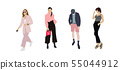 Set of fashion people. Vector flat design colorful fashionable people standing in different poses 55044912