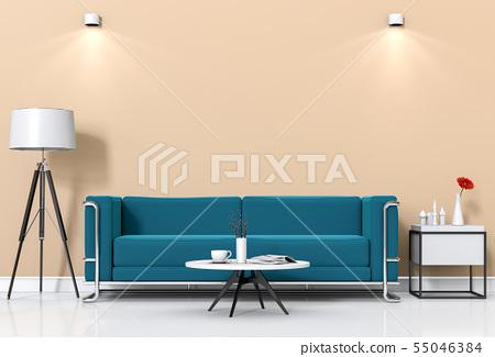 interior living lighting room with sofa.  55046384