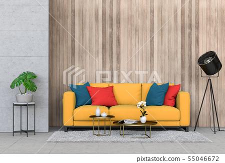 interior living room wall concrete with sofa 55046672