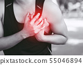 Man having chest pain - heart attack outdoors. 55046894
