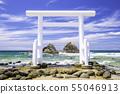 Itoshima Fukuoka prefecture Ocean and couple rock in the beautiful Futamigaura 55046913