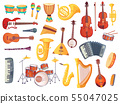 Cartoon musical instruments, guitars, bongo drums, cello, saxophone, microphone, drum kit isolated 55047025