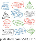 Visa passport stamp for travel. Immigration to China, Italy, Can 55047115