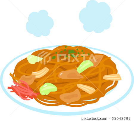Sauce Yakisoba served in a plate 55048595