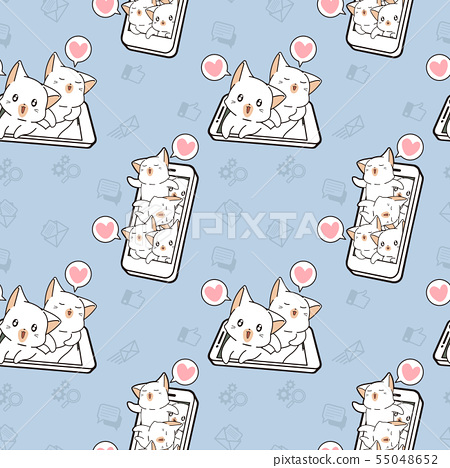 Seamless kawaii cats with technology of smart phon 55048652