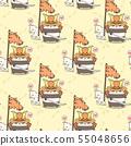 Seamless kawaii samurai panda and cat is holding a 55048656