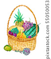 Picnic basket with fruits, berries and vegetables. 55050053