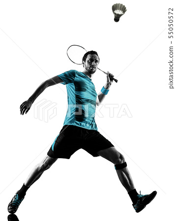 Badminton player man shadow silhouette isolated white background 55050572