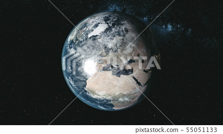 Epic spin planet earth galaxy night satellite view 55051133