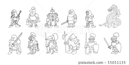 Knight With Two Coloring Page - Free knights Coloring Pages ... | 227x450