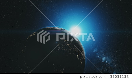 Epic earth rotate sunlight glow starry galaxy 55051138