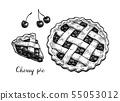 Ink sketch of cherry pie. 55053012