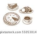 Ink sketch of apple pie 55053014