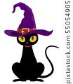 Black cat (Halloween material) 55054905