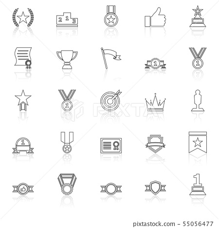 Victory line icons with reflect on white 55056477
