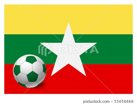 Myanmar flag and soccer ball 55056666