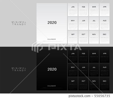 2020 calendar minimal table planner simple style. 55056735