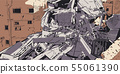Collapsed building earthquake explosion fire 55061390