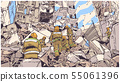 Fire fighters at collapsed building earthquake 55061396