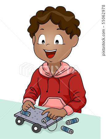 Kid Boy Stem Electric Car Illustration 55062978