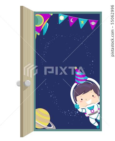 Kid Boy Space Space Birthday Door Illustration 55062996