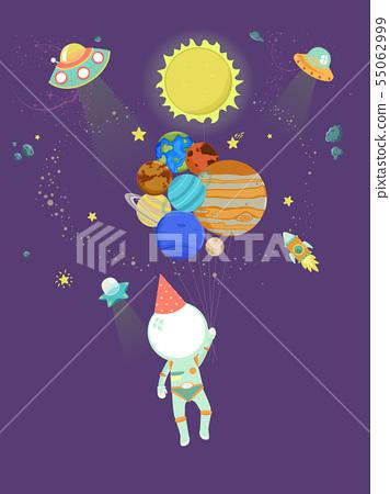 Kid Astronaut Balloons Party Hat Illustration 55062999