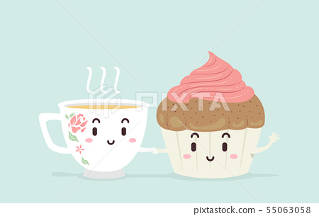 Mascot Tea Cup Cake Illustration 55063058