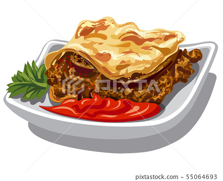 moussaka and sauce 55064693