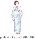一位女士帶著風扇的浴衣 55066304