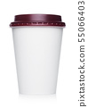 Coffee to go in a disposable cup with red plastic 55066403