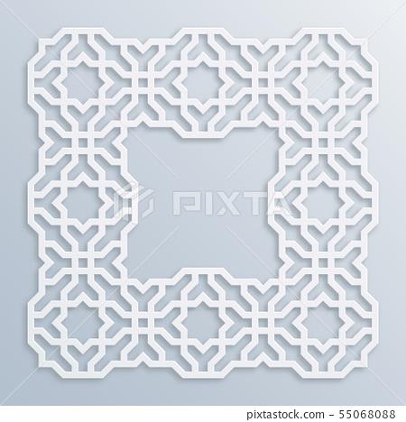 3D square white frame, vignette. Islamic geometric 55068088