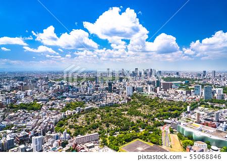 《東京》藍天白雲,東京城市景觀 55068846
