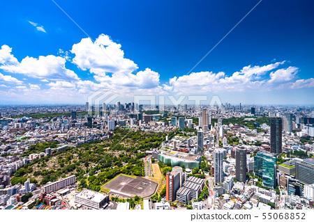 《東京》藍天白雲,東京城市景觀 55068852