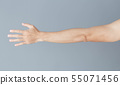 Close up man hand with grey background, health 55071456