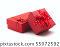 Two red gift boxes on white background. 55072592