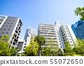 與綠色和公寓的都市風景 55072650