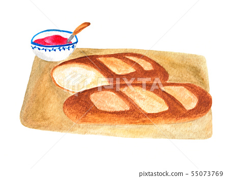 French Bread And Jam Watercolor Painting Stock Illustration 55073769 Pixta