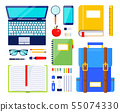 Education elements illustration. School stationery and supplies. Illustration of ruler and backpack 55074330