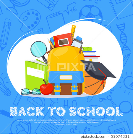 Back to school banner. Backpack, basketball ball, pen and school supplies on colorful background 55074331
