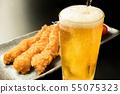 맥주와 새우 튀김 55075323