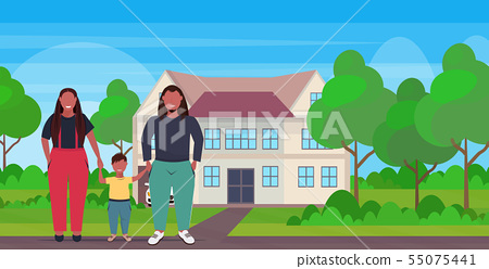 fat overweight family holding hands obese mother father and daughter standing together over size 55075441