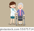 Doctor helps her grandmother to go to the walker 55075714