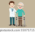 Doctor helps her grandfather to go to the walker 55075715
