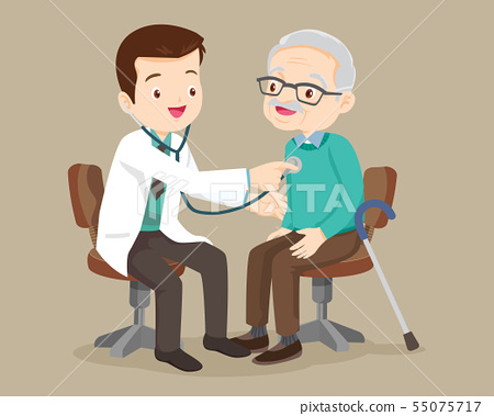 doctor helps check grandfather 55075717
