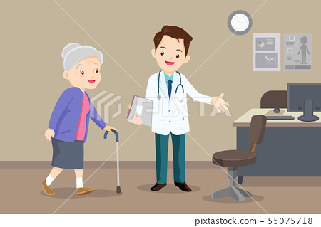 doctor helps grandmother to go to the walker 55075718