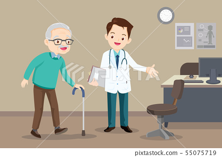 doctor helps  grandfather to go to the walker 55075719