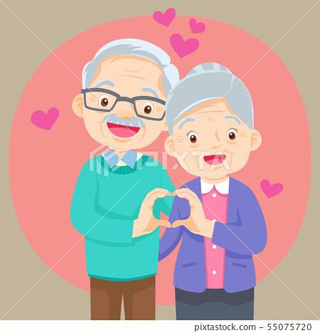 Elderly couple holding hands  make shape of heart 55075720