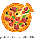 Pizza and slice triangle with different ingredients tomato, cheese, olive, sausage, basil 55076494